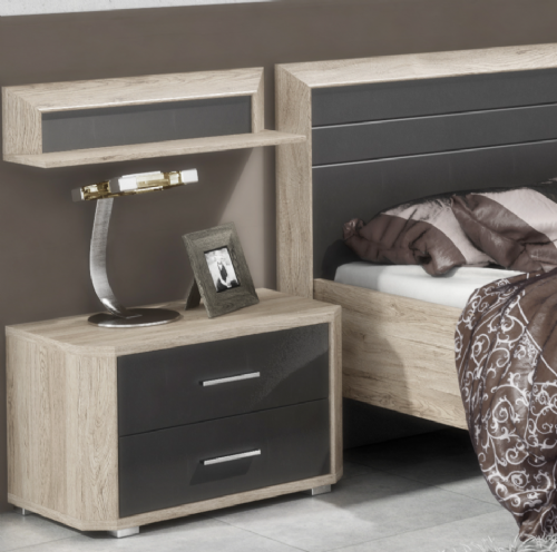 Mocha Dark Brown With Oak Effect Bedside - 2686
